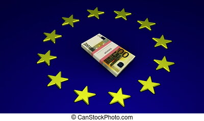 Packet of 200 Euro bills - 3D illustration - Packet of 200...