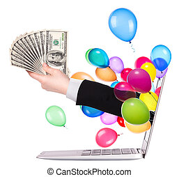 hand with money and laptop - hand with money and balloons...