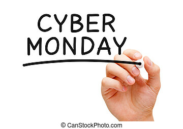 Cyber Monday - Hand writing Cyber Monday with black marker...