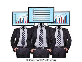 businessmans and monitor with chart for a head