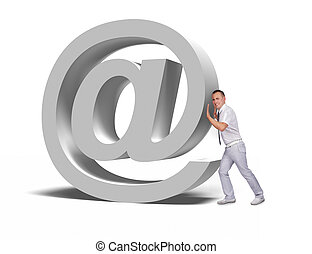 businessman pushing email symbol - businessman pushing big...
