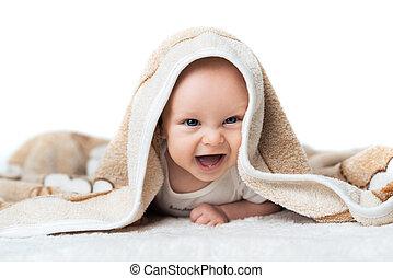 poco, bebé, reír, debajo, alfombra