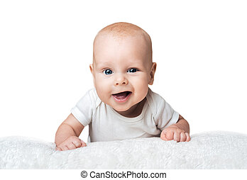 Little baby is smirking on the carpet - Little baby is...