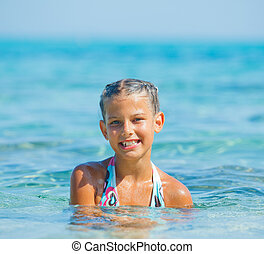 Swimming cute girl - Portrait of cute girl swimming in the...