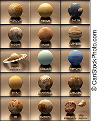 Planets and Moons of the Solar System - An artisic stylized...