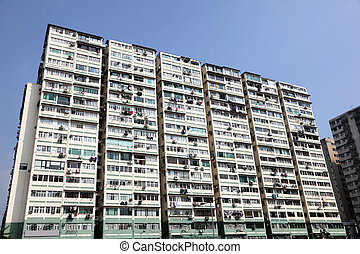 Highrise residential apartments building in Hong Kong New Territories