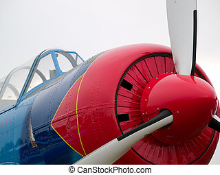 Old WW2 aircraft close-up - Old WW2 propeller fighter...