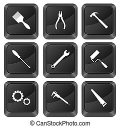 computer buttons tools - Computer buttons tools isolated on...