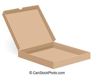 brown pizza box open - Open paper pizza box on white...