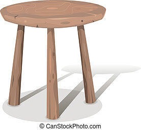 Wood Stool - Illustration of a cartoon styled wooden stool...
