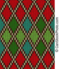 Seamless Christmas Knitted Pattern. Style Knit woolen...