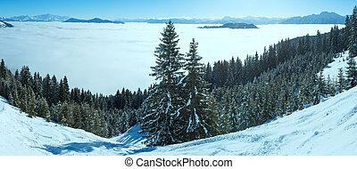Cloudy winter mountain panorama (Hochkoenig region,...