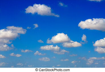 Blue sky - Beautiful white clouds on a blue sky background