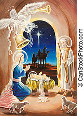 Christmas birth of Jesus - Christmas Manger scene with...