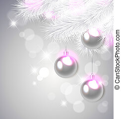 Christmas decorations - Christmas background with white pine...