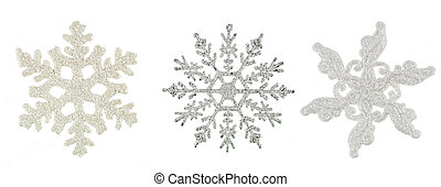 Silver snowflake, - christmas toy, isolated