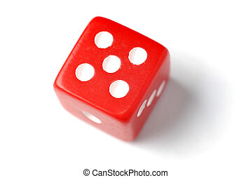 Red Die - Five at top - Blue Die on White - One at top -...