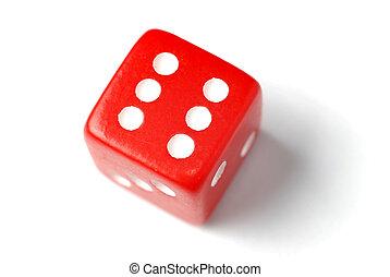 Red Die - Six at top - Blue Die on White - One at top -...