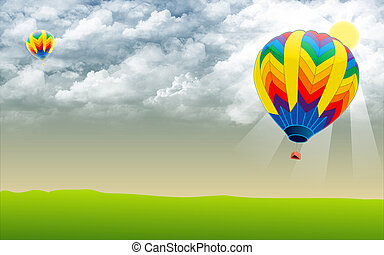 Hot air ballon - Stock Image - Hot air ballon in sky - Stock...