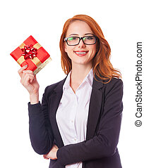 Young business woman happy smile hold gift box in hands....