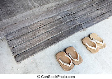 Japanese wooden sandals - Japanese traditional wooden...