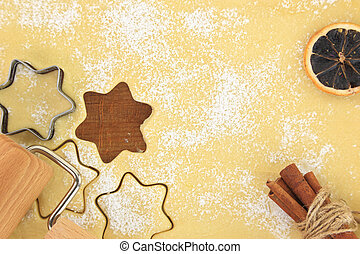 Making star cookies with cookie cutter