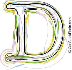 Organic Font illustration. Letter D