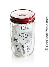 IOU%u2019s in a jar on white