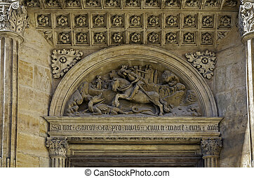 Fight with the dragon. Medieval architecture detail at St....