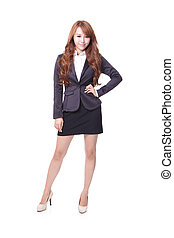 confident young business woman standing - Full length...