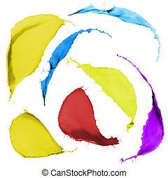 colored paint splashes - collection of colored paint...