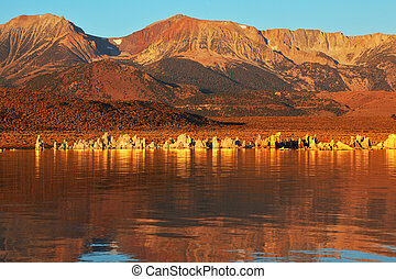 Blazing orange sunset on Mono Lake Outliers - bizarre...