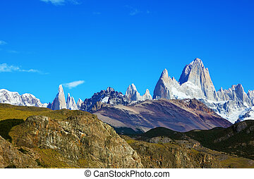 The famous rocky mountain Fitzroy - Argentine Patagonia. The...