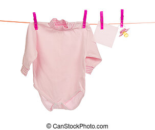 Baby clothes drying on the rope - Bodysuit, an empty card...