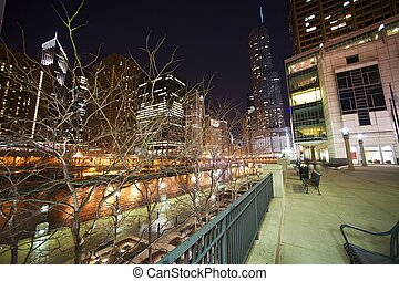 Chicago Riverwalk at Night Chicago, USA March 2012 Wide...