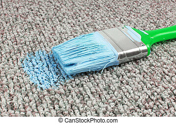 stained carpet with paint brush