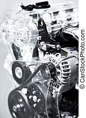 Car Engine Closeup - Vertical Photography. Modern Economical...