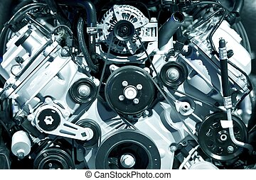 Powerful Engine Closeup - Powerful Gasoline Engine Closeup -...