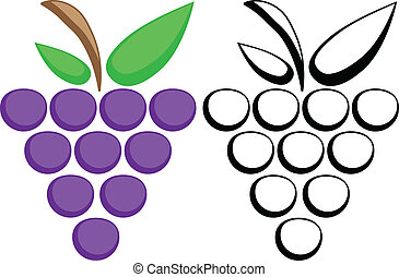 Grapes symbols - Grapes color and silhouette. eps10