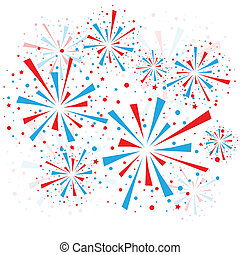 Fireworks - Big red and blue fireworks on white background....