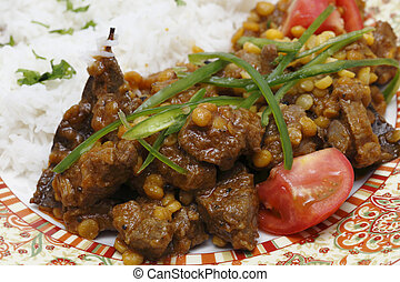 Lamb curry with split peas closeup - Lahore Pakistan style...