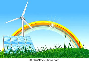 Natural Energy Illustration with Rainbow, Solar Panels and...