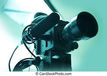 HD Video Camera with Shotgun Microphone. Video Production -...