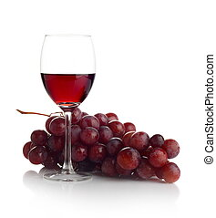 Red wine and grapes isolated on white - Red wine in glass...