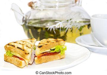 sandwich with tea