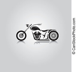 vector Silhouette of classic motorcycle moto icon - vector...