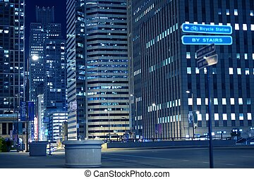 Urban Night Life. Chicago Streets by NIght.