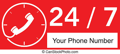 24 hour Call Center - Red Sign 24 hour Call Center
