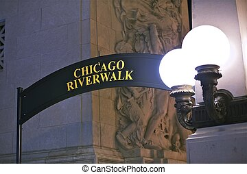 Chicago Riverwalk Sign - Gate. Downtown Chicago, Illinois,...