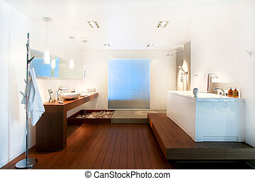 Wooden bathroom - Big bathroom with wooden floor in natural...